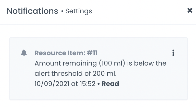 A screenshot showing what an alert threshold for items looks like in your notification