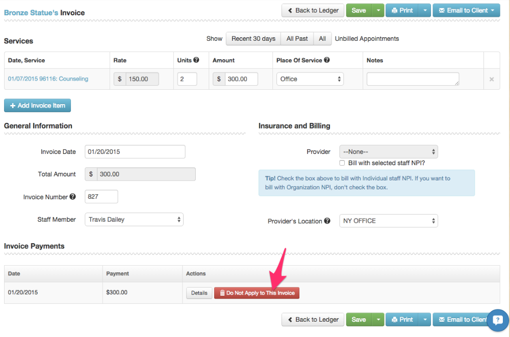 Remove Payment From An Invoice TheraNest Support Center - Open invoice customer service