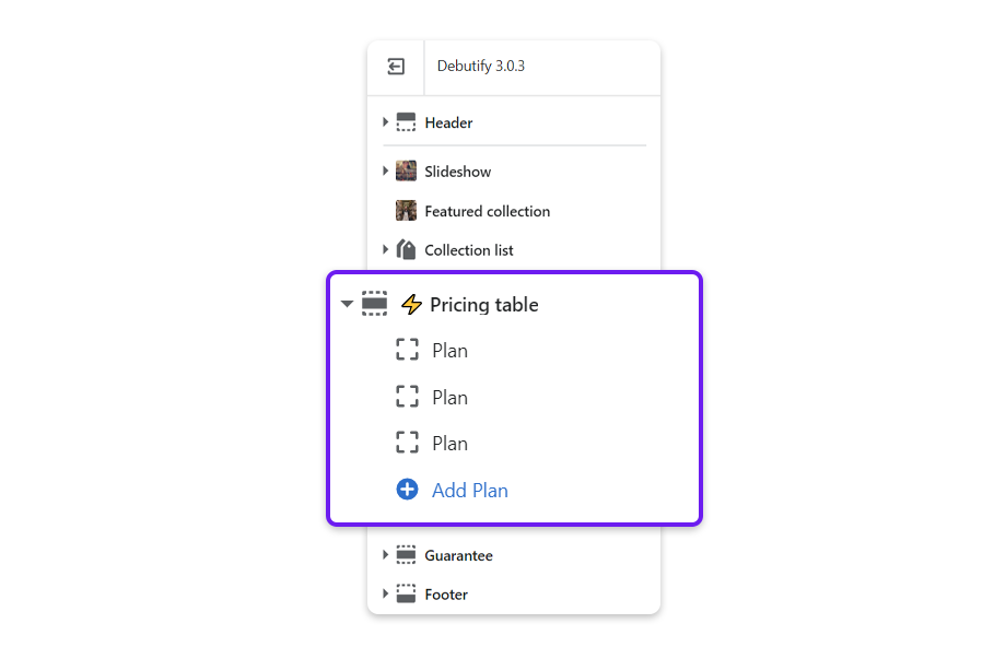 Go back, and click on the arrow next to Pricing Table to reveal the option to add pricing plans. You can create up to 4 pricing plans.