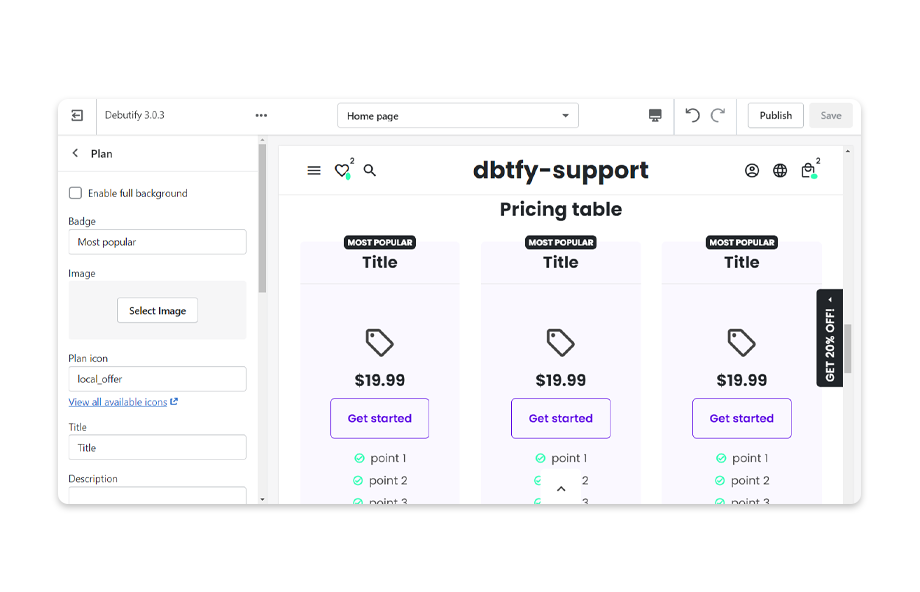 Define the price plan(s) to show in the Pricing Table.