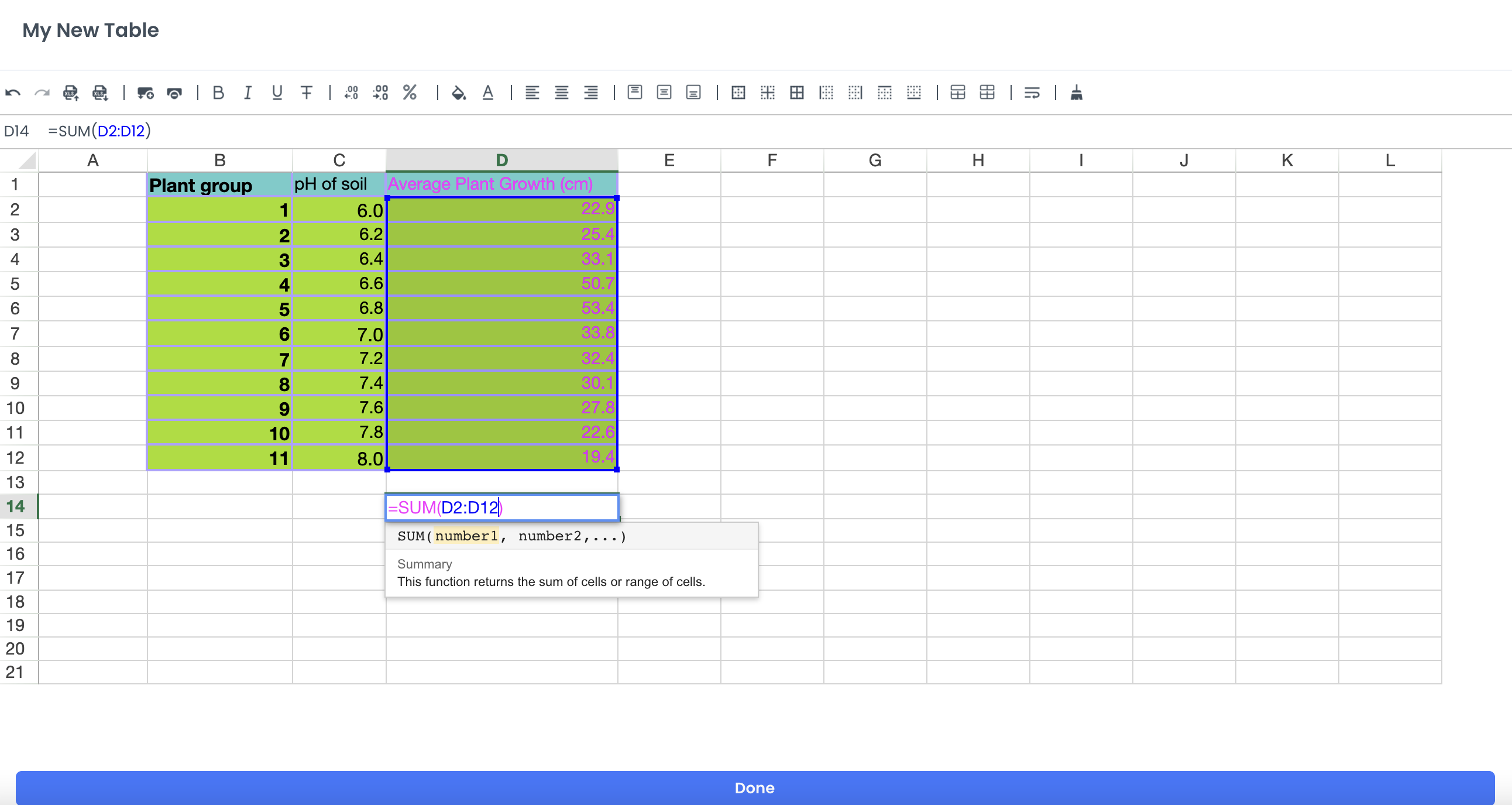 A screenshot showing cell reference in sums