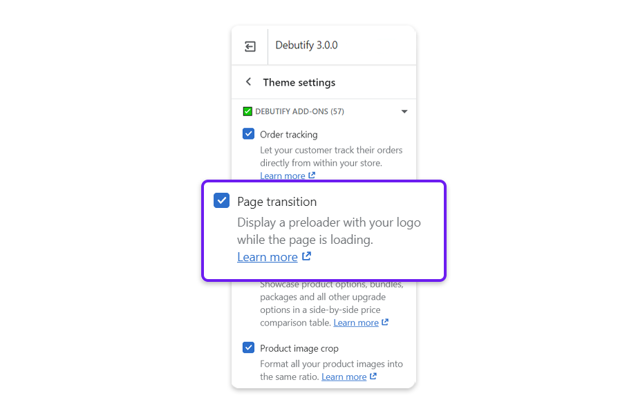 Tick Page transition to activate this Add-On.