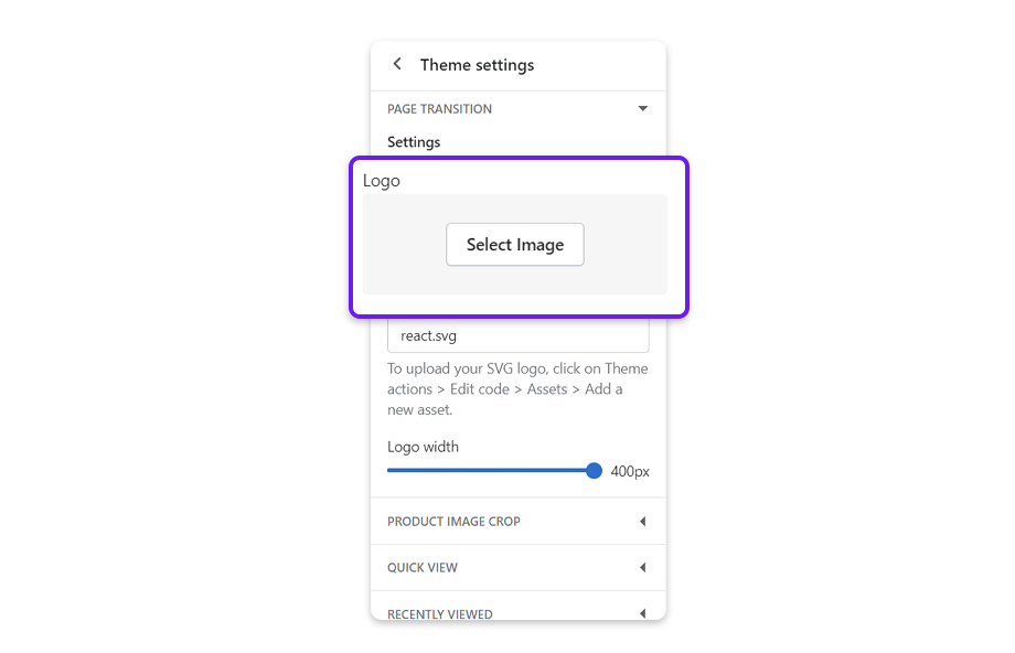You have an option to add a free logo, insert an image from your device, or upload your SVG logo.  To insert a free logo or an image from your device, tap Select Image.