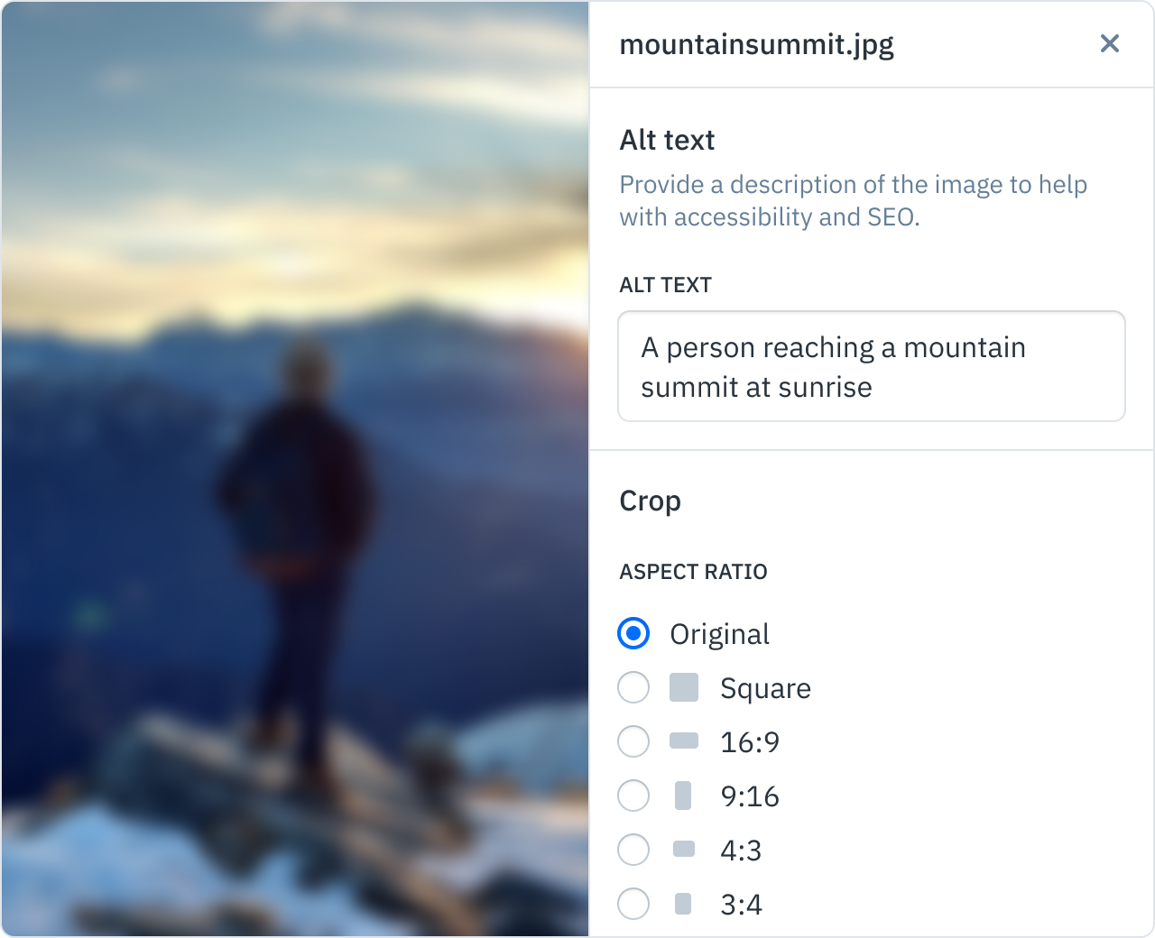 A snapshot of our image settings interface