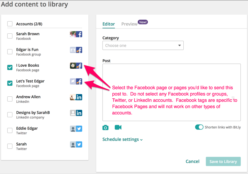 Tagging Facebook Pages With Edgar Meetedgar Help Center
