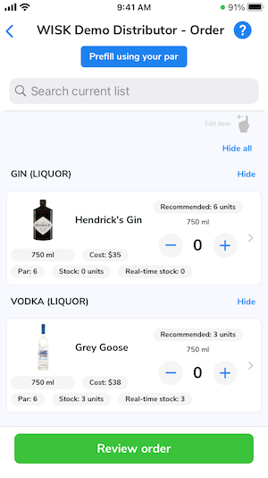 The ordering screen for the distributor. It shows all items associated with them.