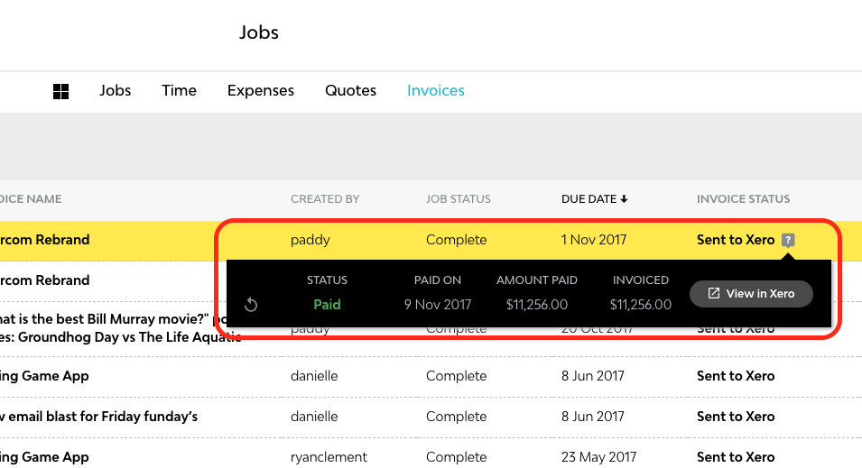 Recording Payments In Streamtime Help Portal Streamtime - Quickbooks invoice status