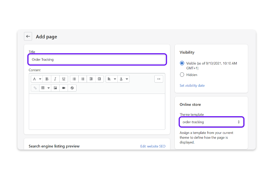 Enter the name of your page in the Title field, add content, and select page.order-tracking from the Template suffix drop-down list.