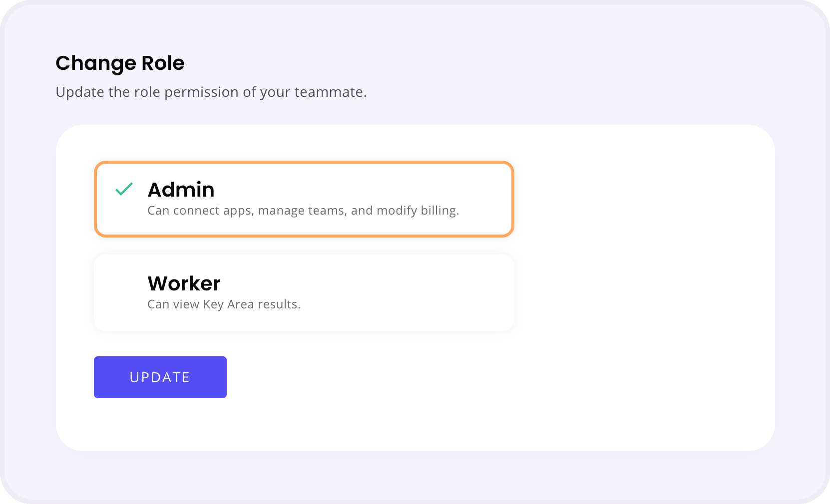 Change User Role Section