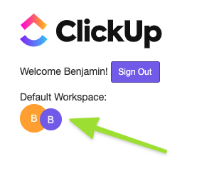 Screenshot of pop up in Microsoft Teams that allows you to select a different default Workspace or sign out
