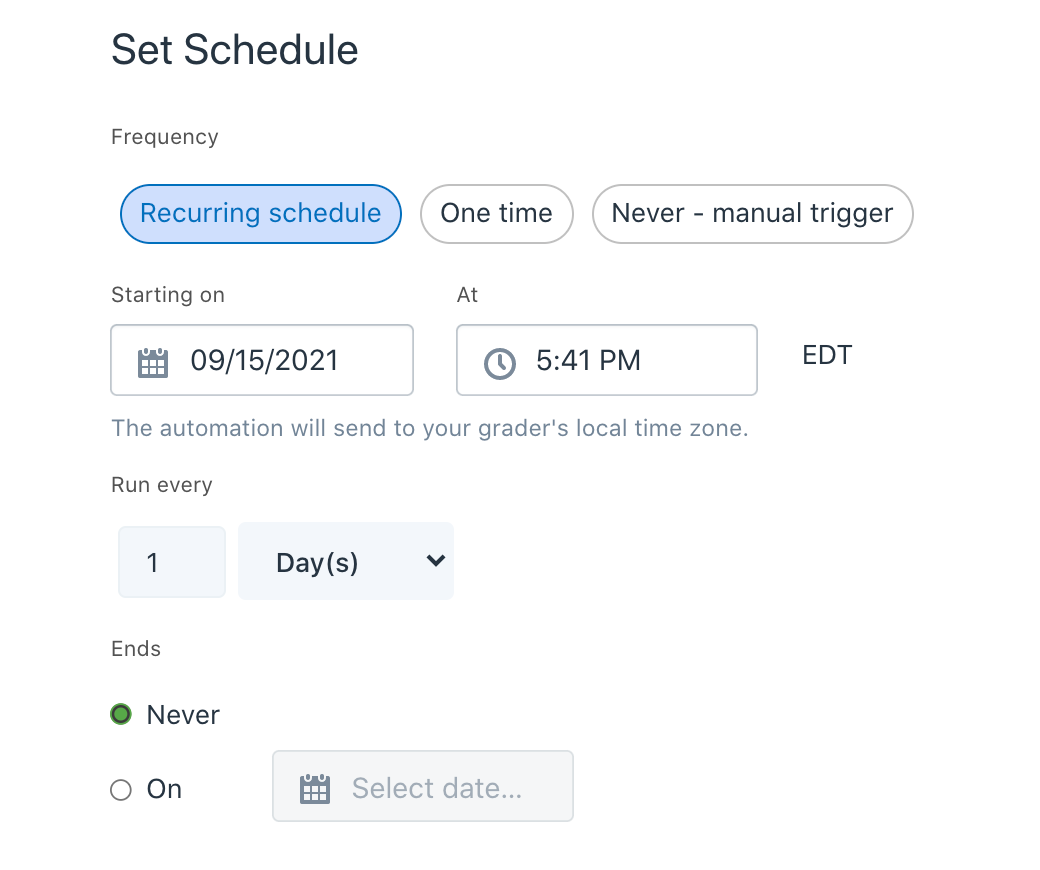 set automation schedule