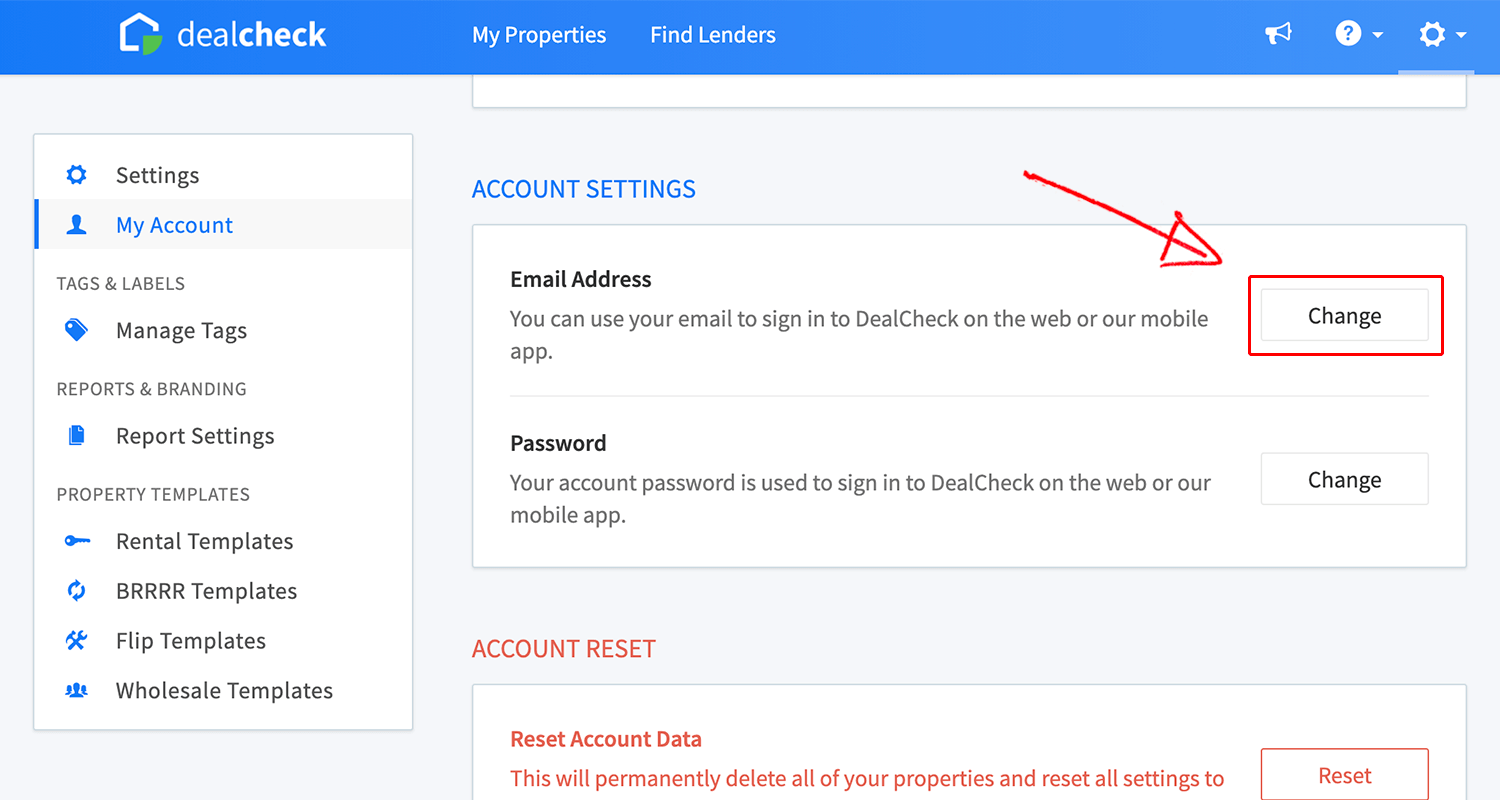 Email change button in account settings