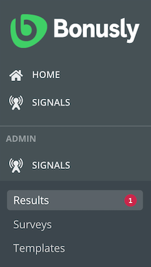 Red notification dot showing with the number of new survey results showing in the admin navigation menu.