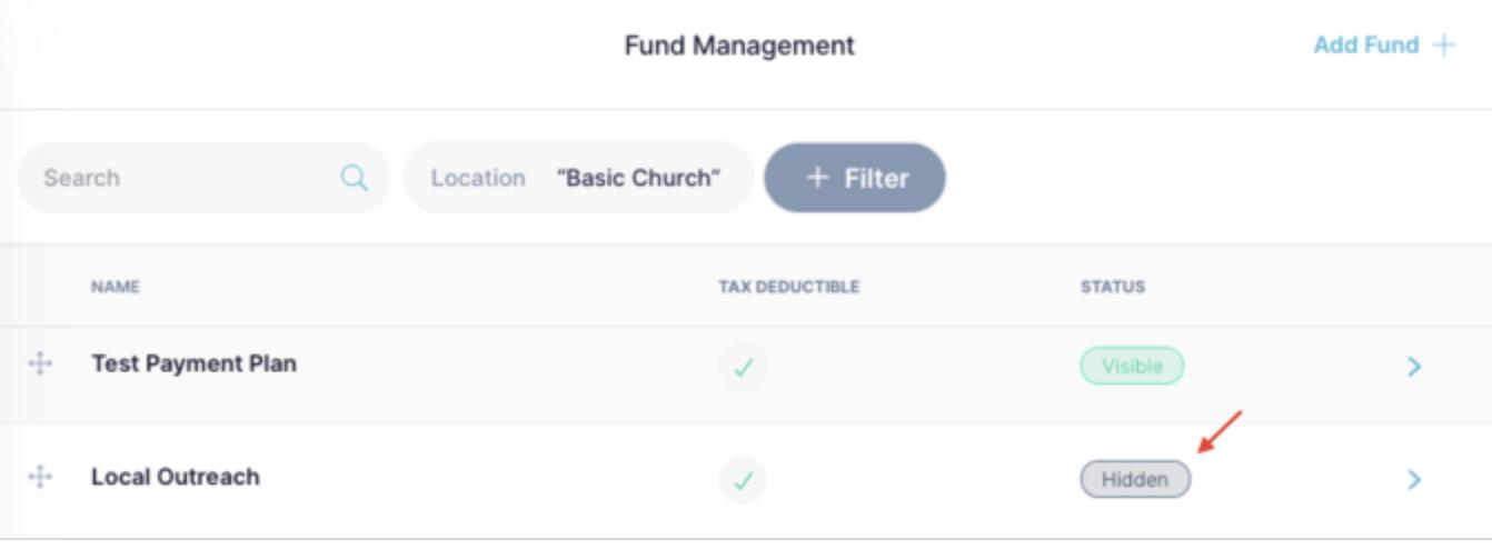 Hidden Funds / Giving Type