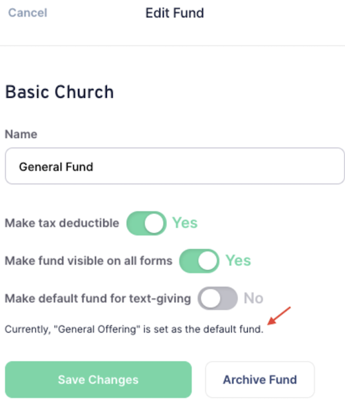 Viewing your default fund / giving type for Text Giving