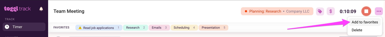 Add Favorite from running timer