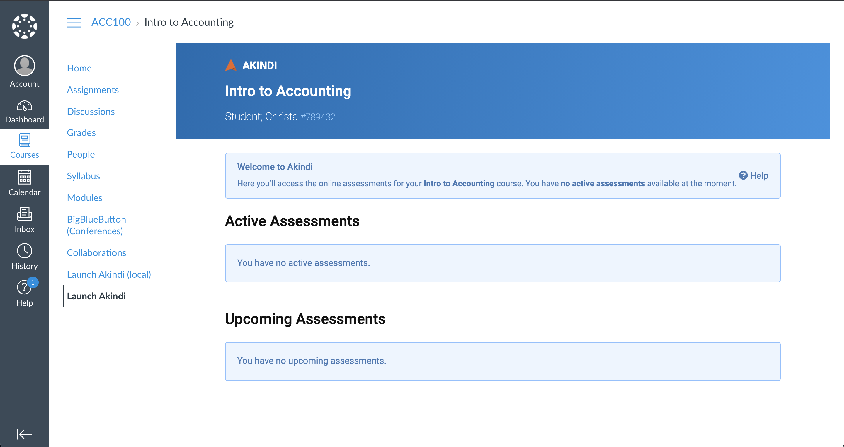 Student portal in Canvas.