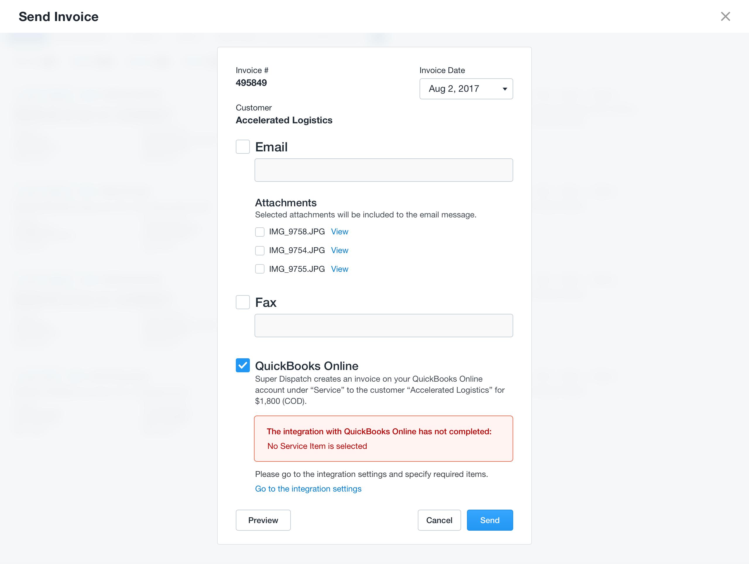 QuickBooks Online Error Messages Send Invoice Super Dispatch - Quickbooks invoice email message