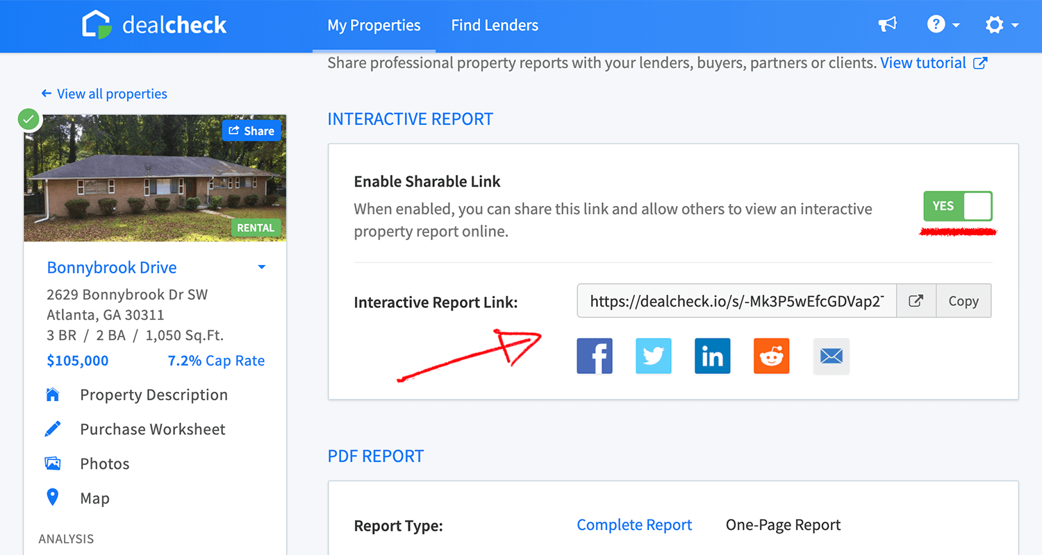 Interactive property report sharing features