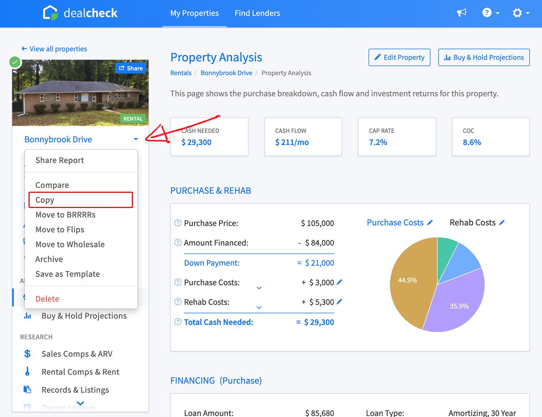 Duplicate property link in property menu