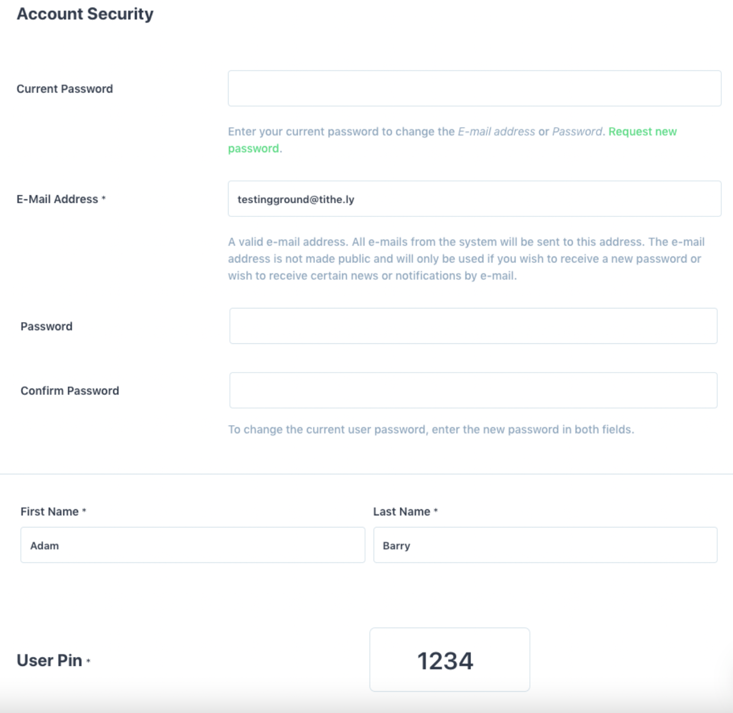 Account Security Change Password, Email, Name and Pin