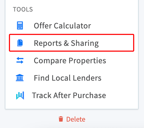 Reports and sharing link in property menu