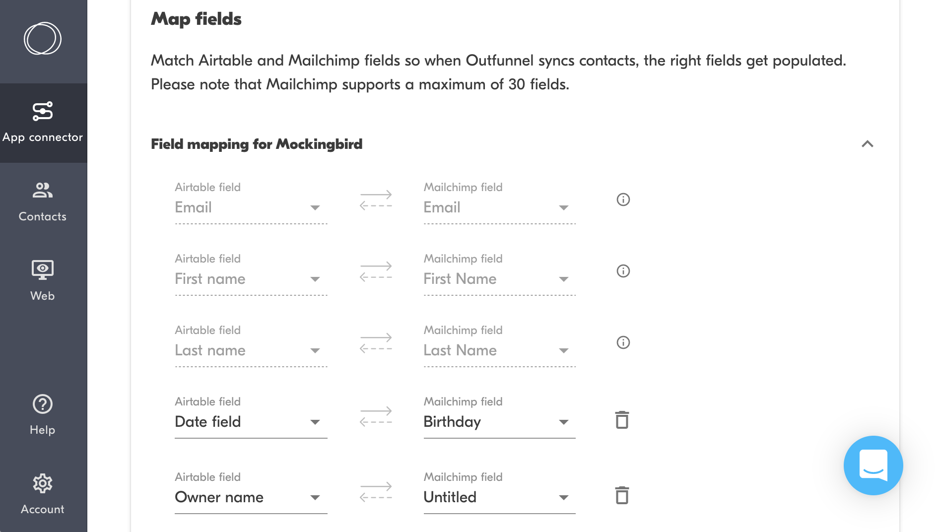 airtable and mailchimp field mapping