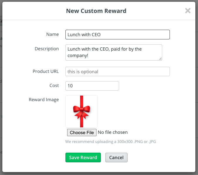 Example of the custom reward filled in with a Name, Description, Product URL (option), Cost, and Reward Image.