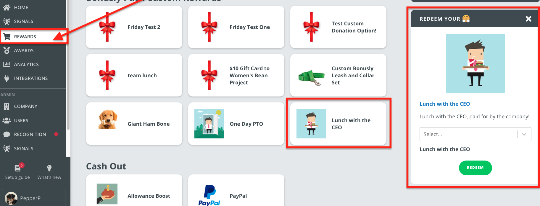 Overview of the Rewards page for users, now showing the reward with multiple cost options to redeem.