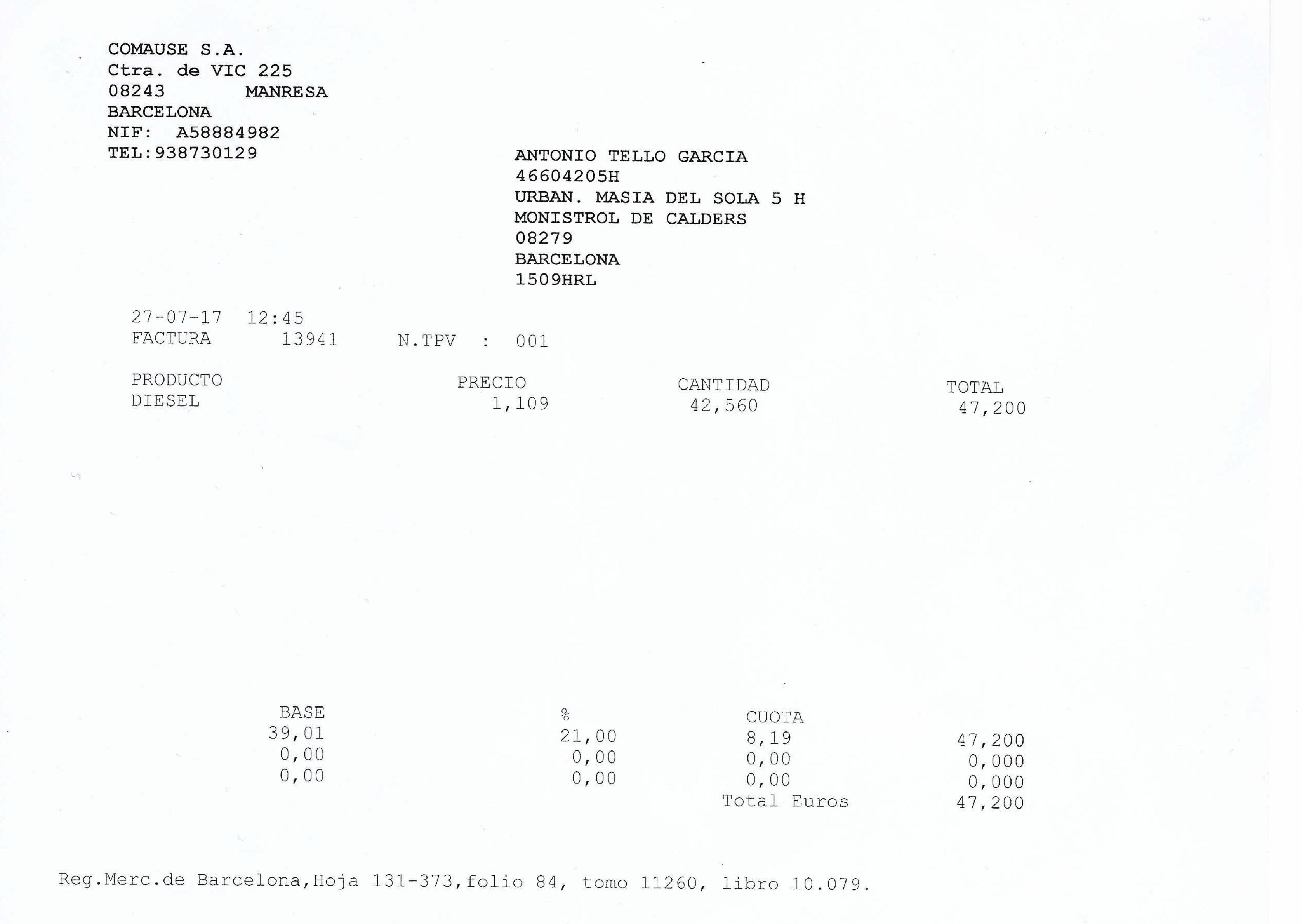 cómo registrar las facturas de gasolina si utilizo el coche para mi
