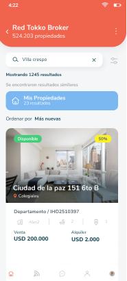 Inicio Red de Tokko Broker dentro de Tokko Broker App
