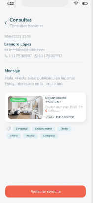 Como restaurar consultas borradas en Tokko Broker App