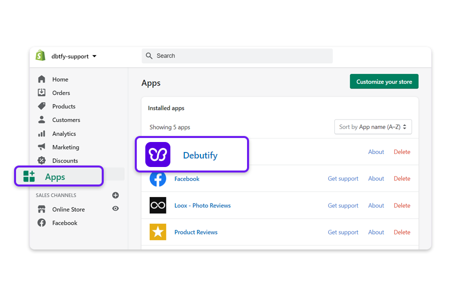 Log in to your Shopify account, click on Apps then click on the Debutify app.
