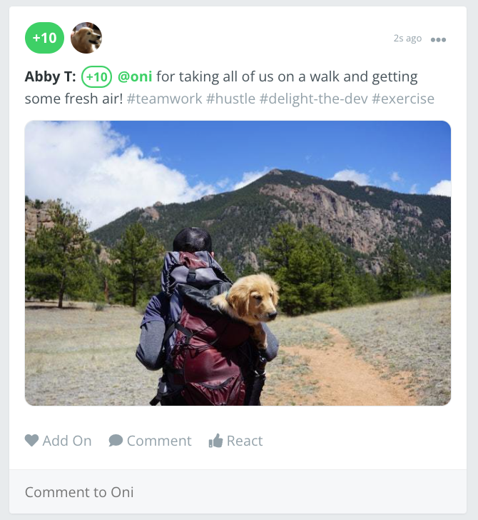 Recognition posted with the image on center in the recognition feed, showing a photo of a person with a golden retriever dog going on a walk.