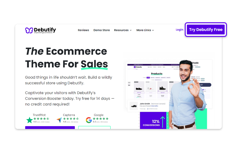Visit the Debutify website and click on the Try Debutify Free button.