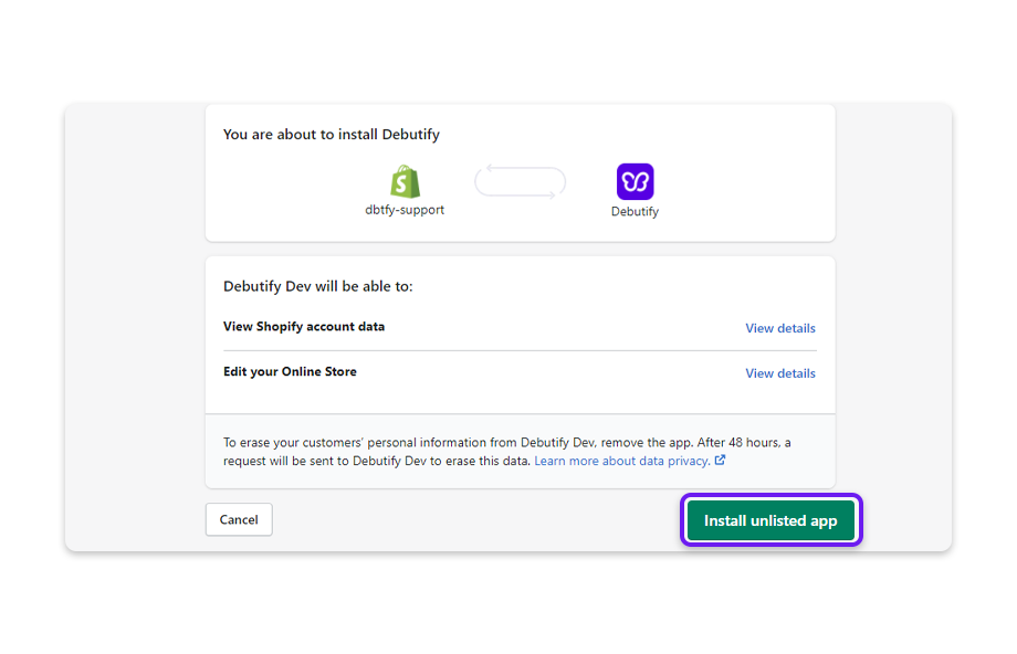 The page will redirect to your Shopify account where you will need to click on Install unlisted app.