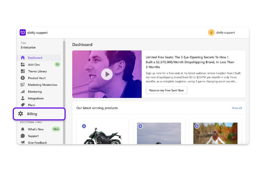 In the Debutify app, click on Billing.