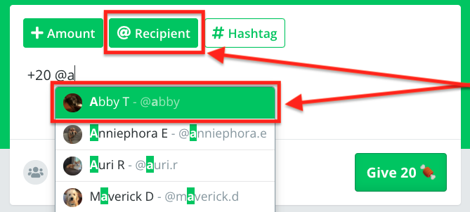 Abby is selected as the recipient after clicking on the Recipient icon to select who to give.