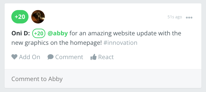 A posted recognition example where the example recipient, Abby, is recognized.