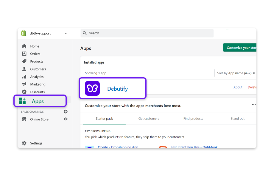 From Shopify admin, click on apps then click on Debutify to get to Debutify admin.