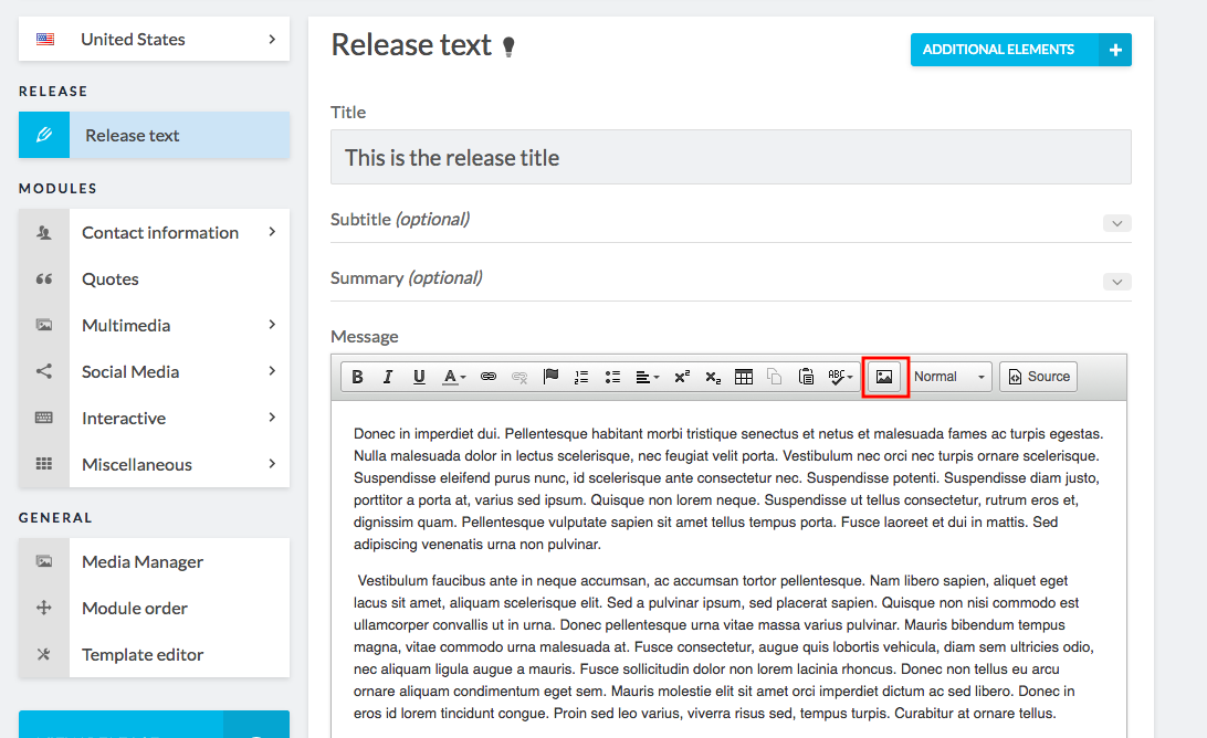 release editor with image button highlighted
