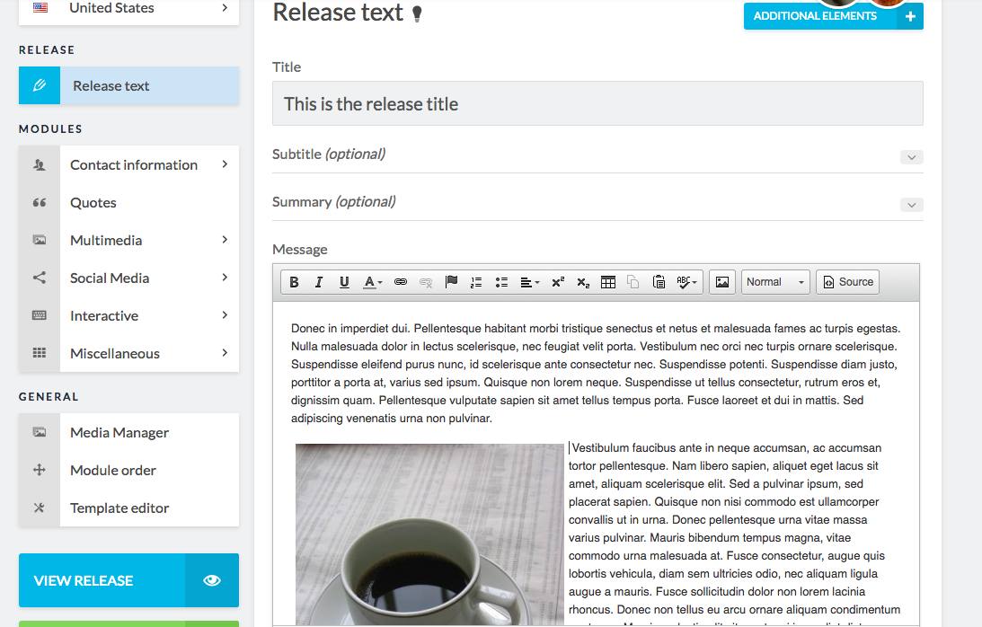 release editor including embedded image