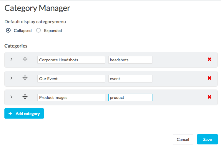 category manager with some category titles filled in