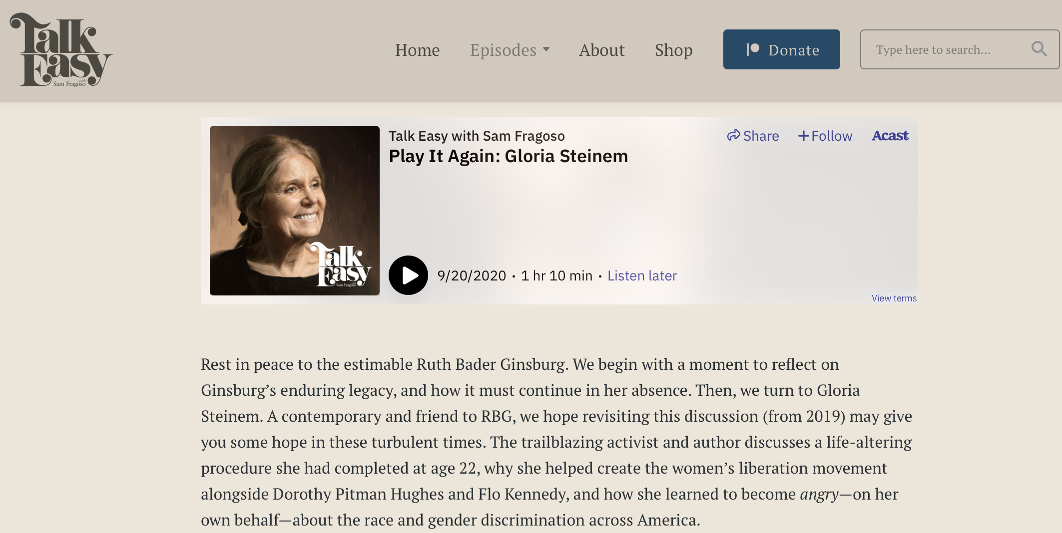 Podcast Talk Easy uses embed player on their website