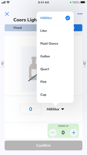 After tapping the unit of measurement, you can select other volume measurement units.