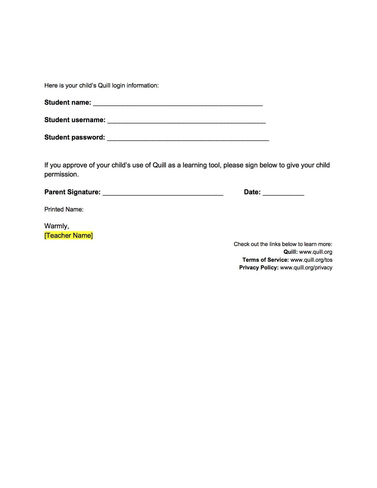 sample permission slips