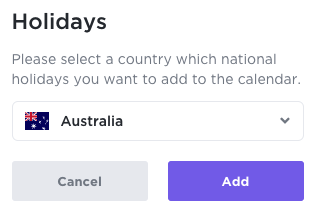 National holidays pop up with drop down menu to select your country
