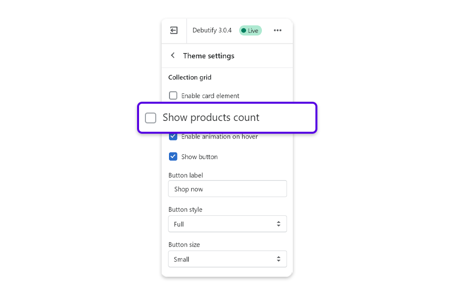 Under COLLECTION GRID, uncheck Show products count.