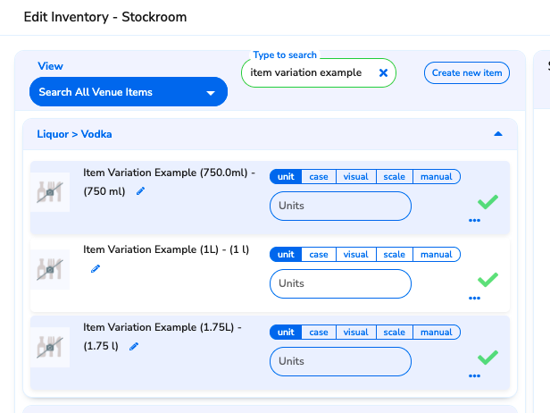 All item variations display as separate items when taking inventory counts on the WISK Web Portal.