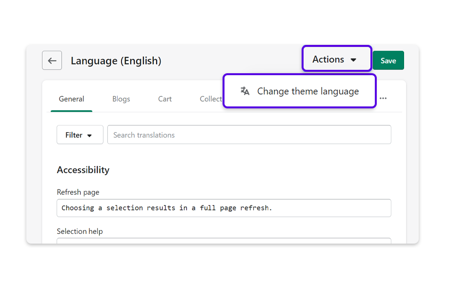 Click on Actions and Change theme language to reveal language options.